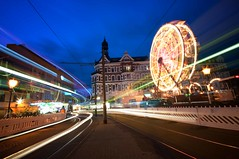 NAT_9184 copy (cozmicberliner) Tags: europe germany light landmark lightstripes traffic travel urban street square road touristattraction architecture building photography ride outdoors oldfashioned sky vibrant wheel spinning summer entertainment ferris carousel night amusement