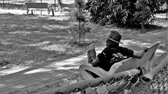 Couch Cowboy ! (bell.bb) Tags: blackandwhite hat man park couch seat path relax wait sit
