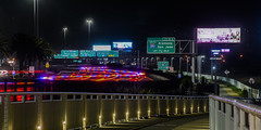 cop calming traffic (pbo31) Tags: oakland eastbay alamedacounty baybridge 80 bridge night black may 2018 spring boury pbo31 nikon d810 color lightstream motion traffic roadway highway infinity red pedestrian bike path sign over green police cop highwaypatrol break prescott portofoakland