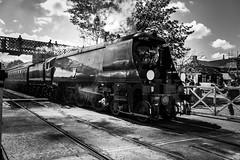 City of Wells 34092 (Mike McNiven) Tags: cityofwells steamtrain loco locomotive levelcrossing ramsbottom bury rawtenstall heywood lancastarianlunch heritage eastlancs eastlancashire railway rail train monochrome blackandwhite