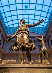 Artemis and the Stag (20180512-DSC06224) (Michael.Lee.Pics.NYC) Tags: newyork metropolitanmuseumofart artemisandthestag bronze sculpture gallery162 greekandromanart hunting skylight architecture twilight bluehour symmetry sony a7rm2 fe24105mmf4g