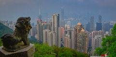 View of Hong Kong Skyline and Harbour from the Lion's Pavilion at Victoria Peak - Hong Kong (mbell1975) Tags: hongkong hongkongisland hk view hong kong skyline harbour from lions pavilion victoria peak island china sar city office buildings aerial skyscrapers skyscraper building harbor sea bay clouds cloudy overcast 香港 statue sculpture