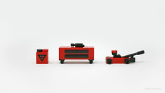Garage Accessories (PleaseYesPlease) Tags: moc speedchampions garageaccessories gascan toolcase tools floorjack impactwrench leeschulz