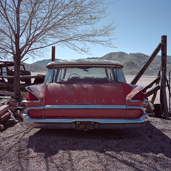 mercury retrograde / route 66. hackberry, az. 2015. (eyetwist) Tags: eyetwistkevinballuff eyetwist route66 hackberry arizona mercury commuter stationwagon vintage car mamiya 6mf 50mm kodak portra 160 mamiya6mf mamiya50mmf4l kodakportra160 ishootfilm analog analogue film emulsion mamiya6 square 6x6 120 mediumformat filmexif iconla epsonv750pro filmtagger ishootkodak 6 mojave desert highdesert landscape motherroad us66 road roadside america americana historic classic route 66 auto rusty patina tailights tailgate fins rearwindow orange bumper chrome old weathered derelict american west retrograde 1959