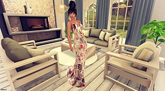 Waiting for you (kare Karas) Tags: woman lady femme girl girly cute beauty pretty delicate sensual seductive elegant indoors home livingroom hair gown mesh event virtual avatar secondlife game fun furniture decoration spring jumo firelight parkplace swankevent