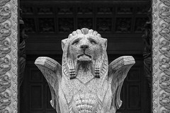 Lion in Lyon (Oleg S .) Tags: france architecture lyon statue church bw