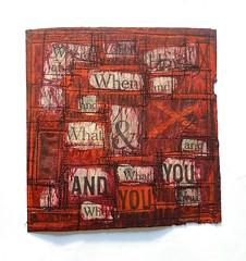 Where and When (Ines Seidel) Tags: newspaper words poem lyrics news zeitung worte wörter gedicht lyrik tusche nähen garn thread red rot pink orange