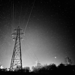 Pylon (amcgdesigns) Tags: andrewmcgavin fortwilliam scotland square squarecrop monochrome blackandwhite night nighttime skyatnight silverefex pylon noaurora headlights eos7dmk2 landscape scottishlandscape