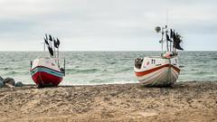 Fishing Boats on the Shore (Poul_Werner) Tags: danmark danskefujientusiaster denmark nationalparkthy stenbjerg beach hav ocean otherpeople photowalk sea strand snedsted northdenmarkregion dk