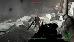 Bounty Hunter (alexandriabrangwin) Tags: alexandriabrangwin fallout4 dunwich borers cave mine shooting m4 rifle raiders underground armor combat firing loud dark post apocalypse setting tactical gear camoflage pants vest ponytail woman female sole survivor pacify assault reloading