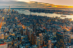 Dusk over the Empire (Arutemu) Tags: america american us usa unitedstates urban nyc ny newyork newyorkcity manhattan city cityscape canon ciudad citylights canon6d view ville eos6d evening dusk downtown downtownmanhattan twilight sunset sundown scene scenic metropolis birdseyeview アメリカ 米国 美国 紐育 ニューヨーク ニューヨーク市 マンハッタン 都市 都市景観 都市の景観 都市の全景 都会 大都会 町 夜の町 風景 光景 見晴らし 夕景 夕暮れ 夕陽 夕べ 夕方 夕日 たそがれ 黄昏 夜 夜景 夜光 夜の景色