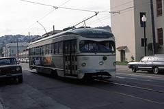 US CA San Francisco MUNI PCC 1009 10-1976 (David Pirmann) Tags: california sanfrancisco muni tram trolley streetcar transit railroad transportation pcc