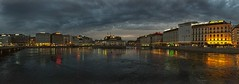 Ginevra (iPhone shot) (Sconsiderato) Tags: ginevra iphone apple cell phone smartphone landscape landscapes swiss sky cielo city città lake lago night nightlife clouds cloudy cloud lights reflex riflessi riflesso river panorama panorami