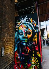 Tribal (justingreen19) Tags: 2017 england jobd london shoreditch street city daubs face graffiti justingreen19 mural paintbrush portrait publicart scaffolding streetart tribal urban