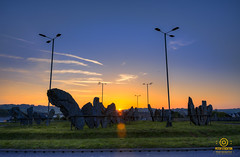 stonehenge barnstaple (kapper22) Tags: roundabout sunrise early sky sun stones barnstaple grass lights hdr