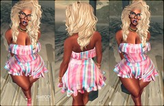 #407 (Zarhyya Trill) Tags: secondlife hucci clothing store makeup dark skin avatar second life portrait picture wavy hair glasses romper mesh 2018 ebody curvy breathe heels pink fuel blog gold jewerly ryca jewelry