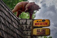 Abandoned Museum, Hinton, WV (Bob G. Bell) Tags: museum giftshop taxidermy bear advertising hinton wv summers bobbell xt1 sign signs clouds bluestone