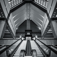 Escalatrium II (s.W.s.) Tags: indoor escalator urban building montreal quebec architectural architecture city canada street symmetry panorama stairs nikon d3300 lightroom
