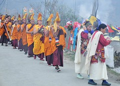 The procession (mala singh) Tags: people monks procession buddhist india colours