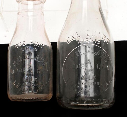 N.H. Clark (Luray, VA) Milk Bottles ($235.20 each)