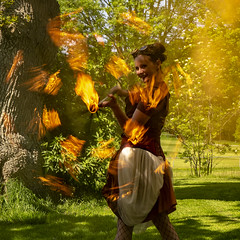 ring of fire (Mark Rigler -) Tags: fire display girl woman outdoors costume circus orange steamship