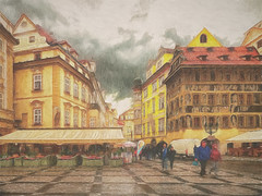 "A rainy day in Prague (Leigh (G7BHH) - ""Alive and Clicking!"") Tags: prague oldtownsquare praha czech republic rainystreetscene streetsceneprague painterly leighkemp paintography"