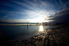 Southsea (Sarah Marston) Tags: portsmouth southsea beach cobbles sunset sony a77 sigma1020 clouds reflections may 2017
