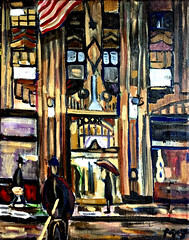 Deco on Lex (The Big Jiggety) Tags: architecture night artdeco oil canvas toile huile oleo lienzo dramatic noir nuit notte nacht noche flag tiffany starspangledbanner art arte kunst gebuilding