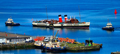 Scotland Greenock the paddle steamer Waverley being moved from drydock to her sailing dock by tugs Bruiser and Battler 30 April 2018 by Anne MacKay (Anne MacKay images of interest & wonder) Tags: scotland greenock paddle steamer waverley tugs bruiser battler boats ships xs1 30 april 2018 picture by anne mackay