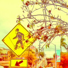 * A moment in the life of A-lad-in-San-Diego ( 1 ) (Wandering Dom) Tags: urban road sign georgiastreetbridge humans people crossing time life reality dream existence being nothingness day earth multiverse roam wandering