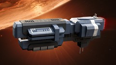 The Domovoi (noblebun) Tags: lego spaceship spacecraft freighter render homeworld