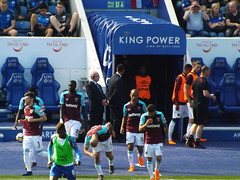 West Ham players come out for the second half (lcfcian1) Tags: leicester city west ham united king power stadium lcfc whufc epl bpl premier league stadia footy football sport england leicestercity westhamunited kingpowerstadium leicestervwestham cheikhoukouyaté aaroncresswell joaomario