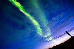 Early session (modesrodriguez) Tags: northernlights aurora auroraborealis lights green iceland travel sunset twilight sky people girl watching blue