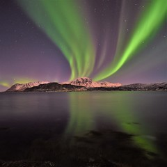 Northern lights reflections (Rudi Verspoor) Tags: northernlights lofoten norway sky nightsky blue green aurora february winter cold night