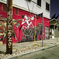 Mono Street (ADMurr) Tags: la night eastside mono street pole tag mural red dad235 hasselblad 500 cm 50mm distagon kodak 6x6 square ektar mf