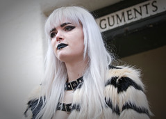 Street portrait from Saturday at the Whitby Gothic Weekend, April 2018 (Gordon.A) Tags: yorkshire whitby whitbygoths whitbygothicweekend whitbygothweekend wgw wgw2018 goth gothic girl creative makeup costume cosplay culture lifestyle style street festival event streetevent eventphotography amateur streetphotography streetportrait colourportrait colourstreetportrait portrait naturallight naturallightportrait digital canon eos canoneos750d sigma sigma50100mmf18dc