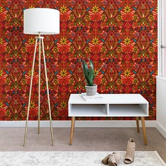 aziza fire wallpaper DENY (Scrummy Things) Tags: sharonturner aziza deny denydesigns moroccan morocco boho bohemian fire orange red home decor wallpaper walls