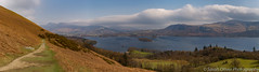 Derwent Water on the descent from the Cat Bells walk (sarahOphoto) Tags: pano panorama view derwent water lake district cumbria uk united kingdom lakes cloud haze countryside nature landscape sky mountains canon 6d islands national park keswick cat bells catbells walk