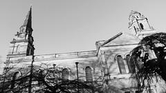 Saint Cuthbert's, winter's day 01 (byronv2) Tags: edinburgh edimbourg blackandwhite blackwhite bw monochrome cemetery boneyard graveyard architecture building church kirk saintcuthberts sunny sunlight shadows history newtown