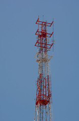 Mobile telecom tower with blue sky (phuong.sg@gmail.com) Tags: antenna bandwidth blue broadcast cell cellular channel communication connect dish engineering equipment frequency global industry mast medium metal microwave mobile munication network outdoors phone radio receive receiver red satellite signal sky station steel structure tall technology telecom telephone television tower transmit transmitter wave wireless