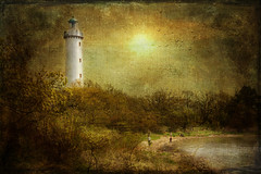 Hot days on the island. (Birgitta Sjostedt) Tags: lighthouse light building architecture landscape lake sea water tree sky sun antique art scene painting spring summer texture