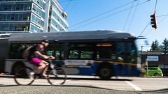 And they're off (Margeaux Nicholas) Tags: 99ubc vancouver bike bus cab cycling flickrfriday intersection motionblur rush rushhour taxi street city urban