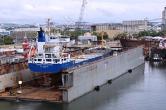Caribe Navigator in floating drydock (Hear and Their) Tags: ybor channel tampa florida cruise ship boat