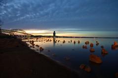 Superior. WI (minnesotagypsy) Tags: sky beautiful sunset wisconsin superior bridge lakesuperior lake pentax longshutter nightshot night