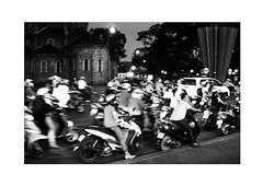 Rush hour Saigon (uwe matthaeus) Tags: uwematthaeus blackandwhite schwarzweis bw sw saigon blurred streetphotography