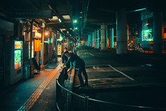 Somewhere in Osaka (Laser Kola) Tags: laserkola lasseerkola city streetphotography street urban urbanphotography citylife citylights neon neonlights neoncity bladerunner osaka japan lost exploring fujifilm x100s couple somewhereinosaka 大阪市 ストリート 2015 people yakitori 焼き鳥 urbanstyle urbanlife teel darkstreet lostinosaka cinematic splittoning cyberpunk streets streetstyle orange darkphotography dark man woman moment shiny futuristic future retrofuture nightphotography night nightlife nighthawk nightlights nightview