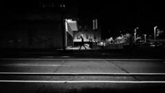 (elgunto) Tags: street people night streetphoto barcelona poblenou lines highcontrast shadows silhouette monochrome blackwhite panasonic lumix dmccm1 photoshopexpress