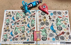 """""""Cycling Cyclops or Cyclops Cycling"""", large and small scale versions, fabric test swatches. My original artwork created digitally. Available as fabric, wallpaper and gift wrap. (sassyone2013) Tags: cyclops biking bicycle bike unicycle tricycle bicyclefabric bicyclefabrics monster monsters creature creatures whimsy whimsical illustration drawing quirky weird kids children noveltyfabric noveltyfabrics sewing quilting fabriccrafts crafting fabricsforkids childrenfabric sewingforkids wallpaper giftwrap wrappingpaper quirkyfabrics quirkyart weirdfabrics weirdfabric uniquetextiles uniquefabrics textiledesign dotfabrics unusualfabrics"""