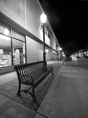 bench (tahewitt) Tags: bench wideangle lagrange bw night