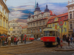"""Prague, Old Town, Street Scene (Leigh - """"Alive and Clicking!"""") Tags: prague czechrepublic oldtown trams streetscene painterly leighkemp paintography"""